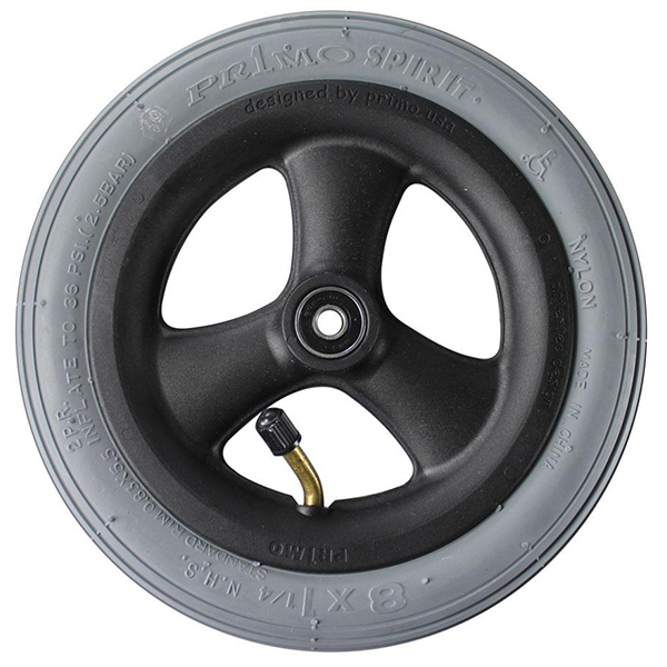 "8"" x 1-1/4"" Pneumatic Wheelchair Casters Grey Tire, Black Hub"