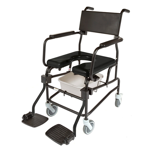 """ACTIVEAID 600 Series Stainless Steel Shower/Commode Chair w/5"""" Casters"""