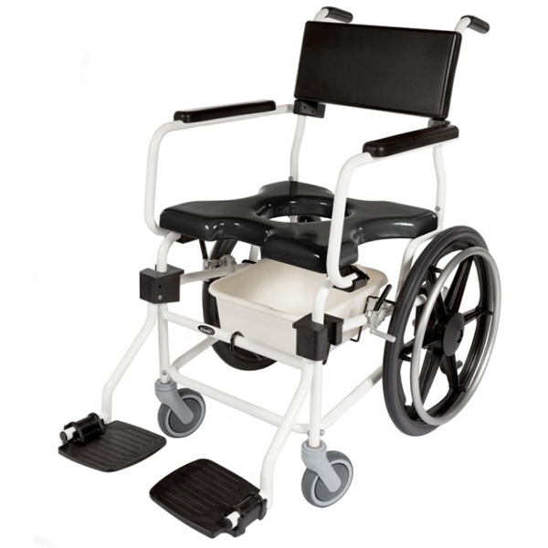 """ACTIVEAID 600 Series Stainless Steel Shower/Commode Chair w/20"""" Wheels"""