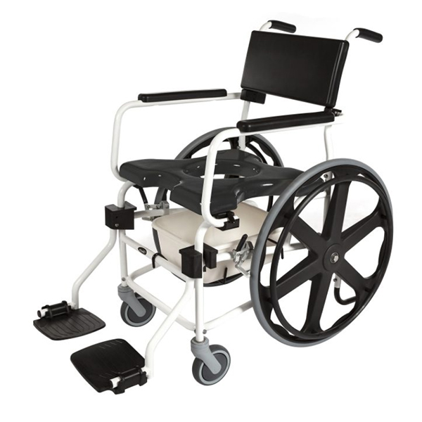 """ACTIVEAID 600 Series Stainless Steel Shower/Commode Chair w/24"""" Wheels"""