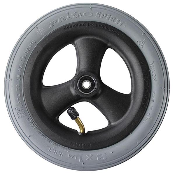 "8"" x 1-1/4"" Pneumatic Wheelchair Casters Grey Tire, Black Hub"
