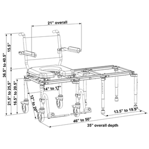 Nuprodx MultiChair 6000TX - Dimensions