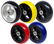 """4 x 1.5"""" Frog Legs Soft Roll Casters, Aluminum or Composite Hub, Choice of Tire Colors"""